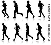 set of silhouettes. runners on... | Shutterstock .eps vector #1198380061