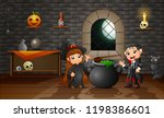 cartoon of little witch and... | Shutterstock .eps vector #1198386601