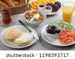 turkish breakfast with cream... | Shutterstock . vector #1198393717