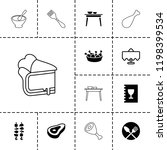 dinner icon. collection of 13... | Shutterstock .eps vector #1198399534