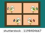 cute bird on the window in the... | Shutterstock .eps vector #1198404667