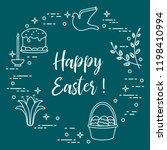 easter symbols. easter cake ... | Shutterstock .eps vector #1198410994