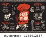 steak menu template for... | Shutterstock .eps vector #1198412857