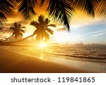 Stock photo sunset on the beach of caribbean sea 119841865