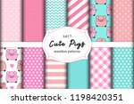 cute set of pigs seamless... | Shutterstock .eps vector #1198420351