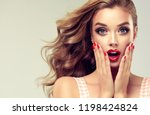 woman with red lips and nails... | Shutterstock . vector #1198424824