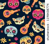 day of the dead seamless vector ... | Shutterstock .eps vector #1198438774