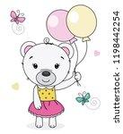 cute bear girl with balloons....   Shutterstock .eps vector #1198442254