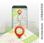 city map route navigation... | Shutterstock .eps vector #1198465534