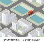 isometric 3d city delivery van. ... | Shutterstock .eps vector #1198468684
