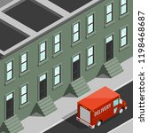 isometric 3d city delivery van. ... | Shutterstock .eps vector #1198468687