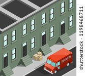 isometric 3d city delivery van. ... | Shutterstock .eps vector #1198468711
