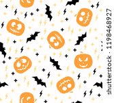 seamless pattern with pumpkin... | Shutterstock .eps vector #1198468927