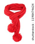 Red Knitted Scarf Isolated On...