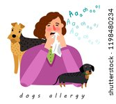 dog allergy woman. cartoon girl ... | Shutterstock .eps vector #1198480234