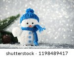 small snowman toy with fir tree ... | Shutterstock . vector #1198489417