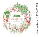 vector merry christmas wreath.... | Shutterstock .eps vector #1198489774