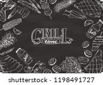 bbq and grill banner with... | Shutterstock .eps vector #1198491727