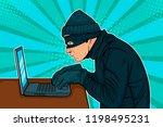 caucasian hacker thief hacking... | Shutterstock .eps vector #1198495231