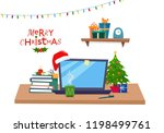 christmas office workplace....   Shutterstock .eps vector #1198499761