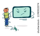 television addiction. baby... | Shutterstock .eps vector #1198502074