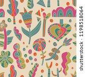 the seamless linocut style... | Shutterstock .eps vector #1198518064