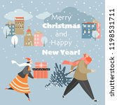christmas card with people... | Shutterstock .eps vector #1198531711