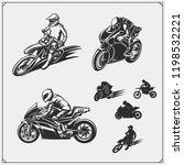 set of motor sport silhouettes  ... | Shutterstock .eps vector #1198532221