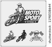 set of motor sport silhouettes  ... | Shutterstock .eps vector #1198538644