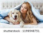 beautiful teen girl with golden ... | Shutterstock . vector #1198548751