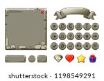 big set cartoon grey stone...