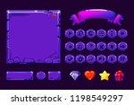 big set cartoon neon purple...
