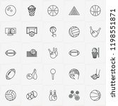 balls line icon set with rugby...   Shutterstock .eps vector #1198551871