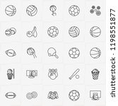 balls line icon set with rugby...   Shutterstock .eps vector #1198551877