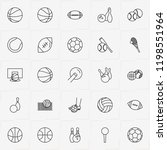 balls line icon set with rugby...   Shutterstock .eps vector #1198551964