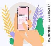 hand holding mobile smart phone ... | Shutterstock .eps vector #1198552567