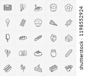 bakery line icon set with bun ... | Shutterstock .eps vector #1198552924