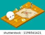 isometric pirate treasure... | Shutterstock . vector #1198561621