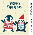 penguins in winter merry... | Shutterstock .eps vector #1198565434