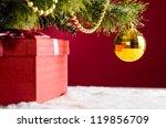 Gift Box On Snow Under...