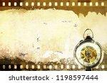 grunge sepia film strip frame... | Shutterstock . vector #1198597444