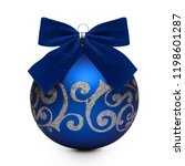 blue christmas ball with bow... | Shutterstock . vector #1198601287