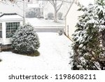 view from window on snowstorm ... | Shutterstock . vector #1198608211