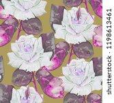 autumn roses watercolor... | Shutterstock . vector #1198613461