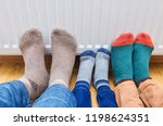 family wearing colorful of pair ... | Shutterstock . vector #1198624351