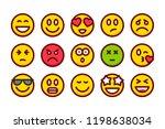 emoji color line icon set....