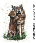 Wolf Watercolor Painting Animals