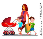mother walking with a baby... | Shutterstock .eps vector #1198648657
