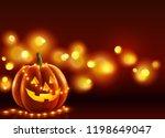 smiling face halloween pumpkin... | Shutterstock . vector #1198649047