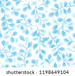 turquoise watercolor leaves on... | Shutterstock . vector #1198649104